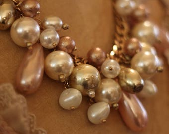 Blush pearl vintage inspired necklace