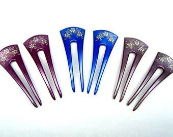 Pair vintage hair picks choose blue, purple or grey hair pin hair comb hair fork hair stick hair ornament (AAA)