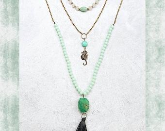 Aqua Seahorse Bohemian Layering Necklaces, Turquoise, Bronze, Teal