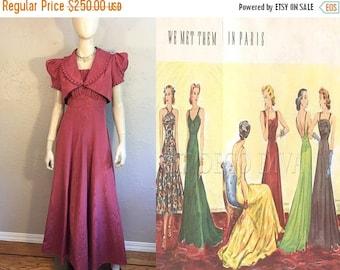 Anniversary Sale 35% Off Ladies Lounge at the Ritz - Vintage 1930s Mauve Rose Pink Taffeta Watermark Rayon Dress w/Bolero Jacket  - 8/10