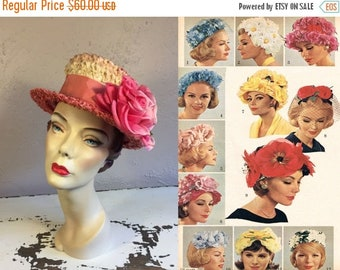 Anniversary Sale 35% Off Florals Are Such the Fashion - Vintage 1950s Rose Pink Cello Straw & Big Rose Boater Hat