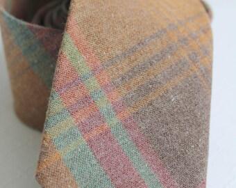 Rustic Tweed Flannel Plaid Neck Tie