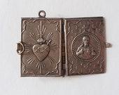 sacred heart tiny book locket sacred heart french pendant religious souvenir