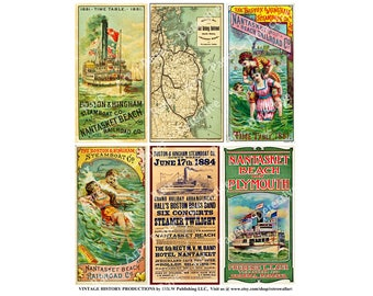 Steamship and Railroad Timetables, Printed Sheet, Boston Rail Map, Steamboat Schedules, Nantasket Beach Railroad, Old Colony, Steamship, 571