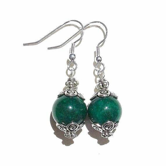 Dark Green Mountain Jade Gemstone Drop Earrings