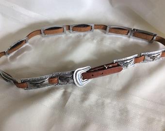 """Vintage Concho Western Steer Belt 32"""""""