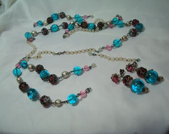 MARIAM HASKELL Vintage Teal Lavender and Pink Glass Beaded Necklace and Earrings.