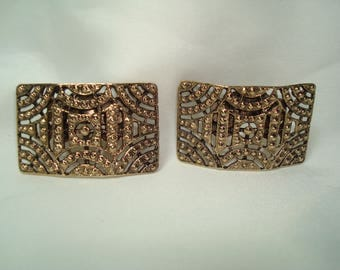 Vintage MUSI Antiqued Gold Tone Arch Rectangular Cutout Shoe Clips.