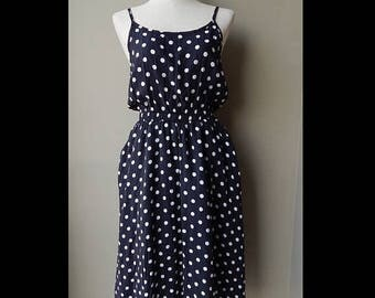 ON SALE 9os Black and White Polka Dots Day Dress Bust 36 Waist up to 28 Hip 38