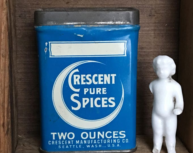 Crescent Pure Spices Tin Vintage Blank Label Teal Blue