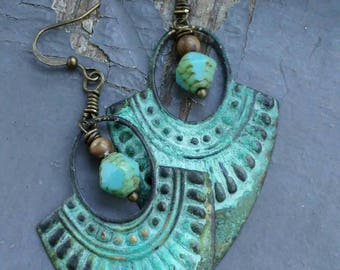 Sheild Maiden - large verdigris metalwork plates, polished stone & German glass statement earrings