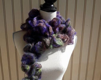 soft, ruffly mohair, silk scarf, hand made