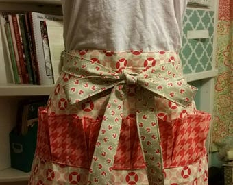 Egg Gathering Apron, red and grey