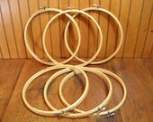 "Set Of Six 10"" Wood Embroidery Hoops"