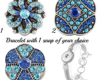 Snap Bracelet with your choice of Snap Jewelry Charms, gift under 15, gift for her, stocking stuffer, snap bracelet charms, gift for Mom