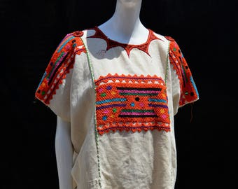 Vintage 50's hand weaved GUATEMALAN HUIPIL hippie blouse hand made sM by thekaliman