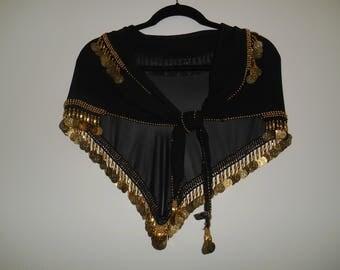 Vintage Egyptian Black Belly Dance Entertainment Scarf