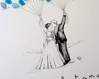 Reserved Listing for JeanLouis, Wedding Guest Book Alternative, Custom Couple Drawing with boy on shoulders, Thumbprint Balloon
