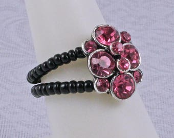 Pink Stretch Ring - Pink and Black Ring - Pink Ring - Elastic Ring - Stretch Ring - Toe Ring - Adjustable Ring - Seed Bead Ring