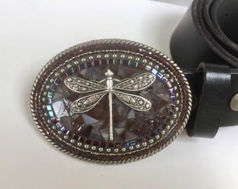 Dragonfly Belt, Custom Belt Buckle, Buckles for Women, Customized Buckles, Western Buckles, Leather Belts, Belts for Women, Beaded Buckles