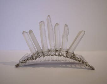 Garden of Light 2 Raw Quartz Point Tiara Clear and Silver