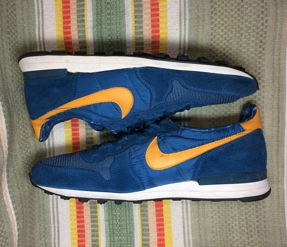 1970s Nike Internationalist blue yellow swoosh waffle sole made in USA size 14