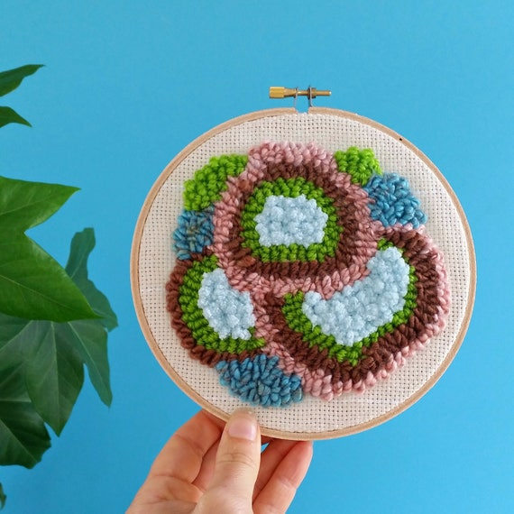 Punch needle embroidery hoop. Yarn art. Textured wall hanging. Organic coral shapes. Modern wall decor.