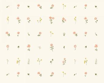 Organic KNIT Fabric - Birch Little - Morning Bloom Knit