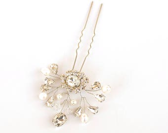 """Bridal Hair Pin, Beaded Hair Pin, Bridal Accessories ~ """"Collette"""" Vintage Beaded Bridal Hair Pin in Silver or Gold"""