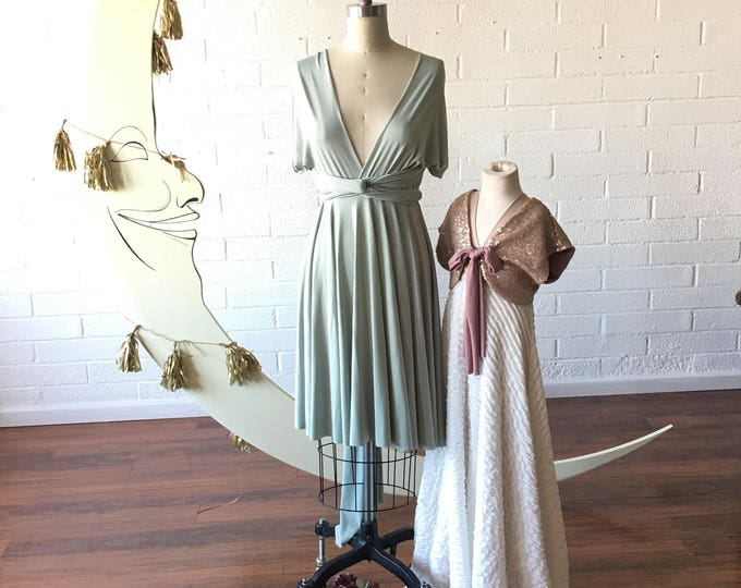 "Ready Made- Standard Size 24"" Song of Sagebrush -Octopus Infinity Convertible Short Wrap Dress"