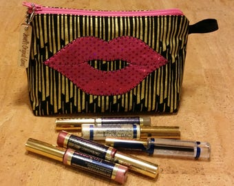 Cosmetic bag, LipSense distributors, purse, pouch, Makeup bag, travel, black with gold pattern, luscious hot pink lips