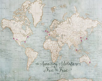 Map Wall Art Custom, Travel Poster, Friend Travel Gifts, Travel Map Personalized, Couples Travel Gift, Bon Voyage Gift, Couples Map