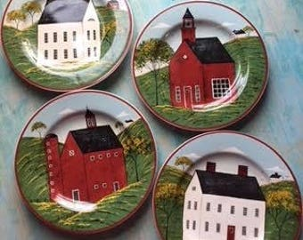 Warren Kimble Country Life Sakura Plates Set of 4