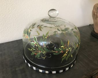 Handpainted cake dome on wood charger