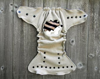 Upcycled Merino Wool Nappy Cover Diaper Wrap Cloth Diaper Cover One Size Fits Most Oatmeal With Hedgehog Applique/ Gray