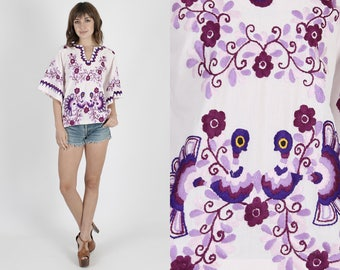 Mexican Top Mexican Tunic Birds Top Birds Tunic Guatemalan Top Vintage 70s Top Floral Embroidered Tunic Boho Hippie Kimono Tunic Blouse
