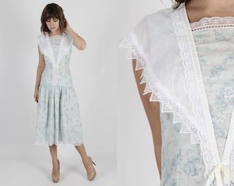 Gunne Sax Dress Jessica McClintock Dress Bohemian Dress Boho Dress Vintage 80s Blue Floral Bouquet Sailor Collar Lace Boho Hippie Midi Maxi