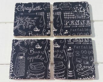 Cafe Chalkboard Menu Set of 4 Tea Coffee Beer Coasters