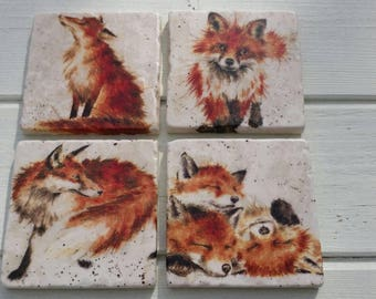 Country Fox Stone Coaster Set of 4 Tea Coffee Beer Coasters