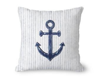 Anchor Pillow Cover, Nautical Throw Pillow, White Anchor Pillow, Navy Home Decor, Nautical Home Decor, Rustic Home Decor, Navy Anchor