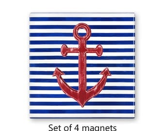 Nautical magnets, anchor magnets, set of 4 decorative magnets, fridge magnet set, refrigerator magnets, kitchen decor, large magnets
