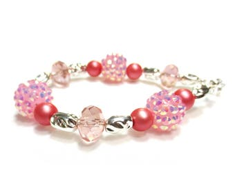 Kawaii Bracelet - Fuchsia Pink Pearls - Crystal Cluster Beads - Silver Bracelet - Kawaii Jewelry - Small Bracelet - Silver Heart Clasp