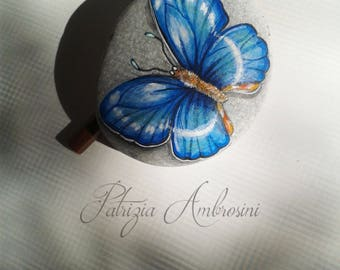 Handpainted Butterfly No.12  rock painting, handpainted stone, miniature, painted, rock art, blue