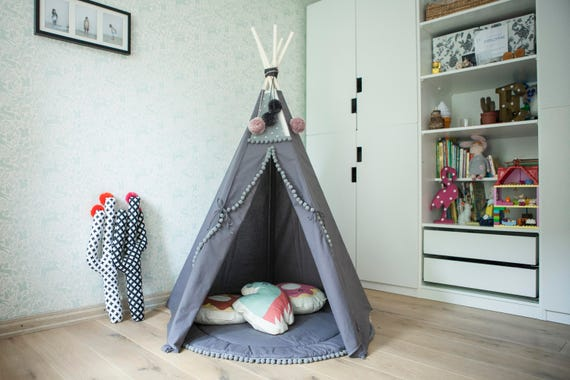 tipi zelt f r kinder kids tipi grau 5 pole tipi neue. Black Bedroom Furniture Sets. Home Design Ideas