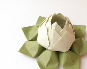 Origami Lotus Flower in Sage and Moss Green - Paper Flower, Decoration, Handmade Gift, Hostess Gift, Birthday, Get Well, Thinking of You