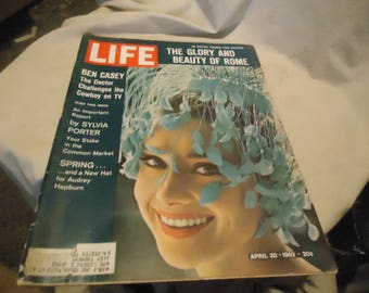 Vintage April 20, 1962 Life Magazine The Glory and Beauty Of Rome Ben Casey Audrey Hepburn, collectable