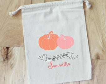 LITTLE PUMPKIN - Personalized Favor Bags - Set of 10 - Fall Party - Pumpkin Patch