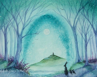"Hare Print "" Tales of Avalon"" Glastonbury Tor"