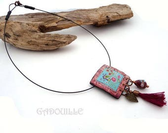 Collier esprit céramique en polymère, tour craquelé imitation raku
