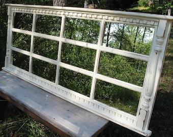 mantel mirror, windowpane  cottage mirror , beach mirror